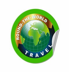 Travel Round the World Symbol with Green Earth vector image vector image