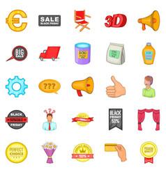 Advertisement icons set cartoon style vector