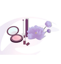cosmetics set package floral perfume vector image