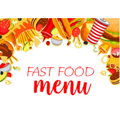 fast food meals menu poster vector image