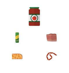 flat icon eating set of cheddar slice beef vector image vector image