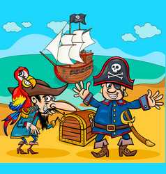 pirates on treasure island cartoon vector image vector image