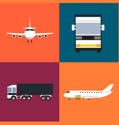 commercial cargo transportation icons set vector image vector image