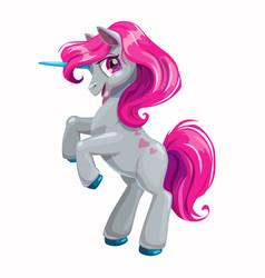 cute cartoon unicorn with pink hair vector image