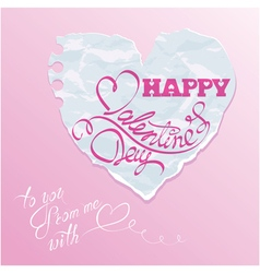 paper heart pink background 380 vector image vector image
