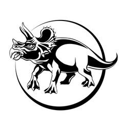 silhouette sketch herbivorous dinosaur triceratops vector image