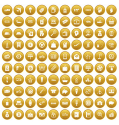 100 economy icons set gold vector