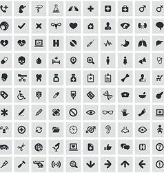 100 Medical icons vector image