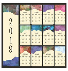 2019 calendar with geometric header for each month vector image