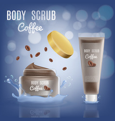 3d realistic coconut body scrub cosmetic package vector