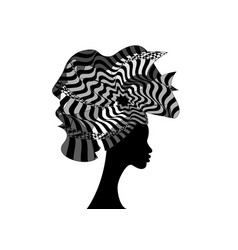 African woman in traditional striped turban vector