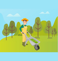 Agricultural activity woman with metal cart vector