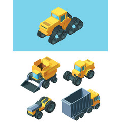 agricultural isometric machines set modern vector image