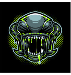 Aliens head mascot logo vector