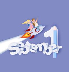 back to school card children flying on rocket vector image