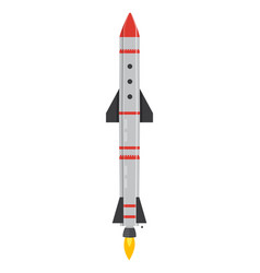 Ballistic missile military weapon rocket on white vector