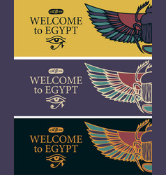Banners with egyptian scarab and eye horus vector