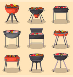 barbecue grill with food isolated set vector image