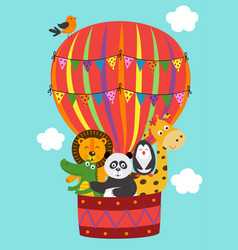 basic rgbposter funny animals fly in a balloon vector image