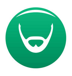 Beard and whiskers icon green vector