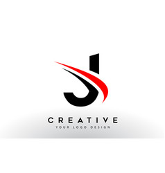 Black and red creative j letter logo design with vector