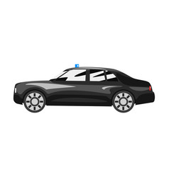 Black executive car with blue flasher siren vector