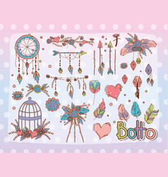 Boho style set design vector