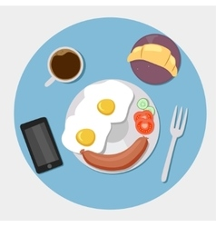 Breakfast icons flat set with coffee time vector image