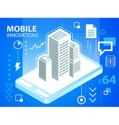 Bright mobile phone and buildings on blue ba vector