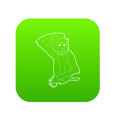 brooding monkey icon green vector image