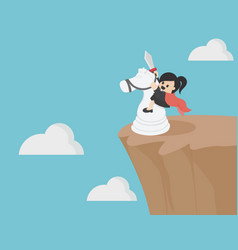 Business woman riding a white horse on a steep vector