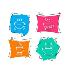 Cappuccino latte coffee and doppio icons teapot vector