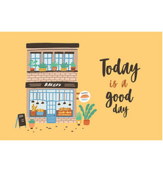 Card template with facade of two-story bakery vector