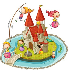 Castle and children vector