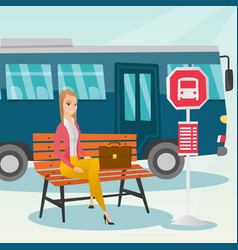 Caucasian woman waiting for a bus at the bus stop vector