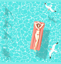 christmas woman on air mattress in sea vector image