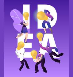 creative idea light bulb character business banner vector image