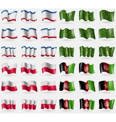 Crimea Adygea Poland Afghanistan Set of 36 flags vector image