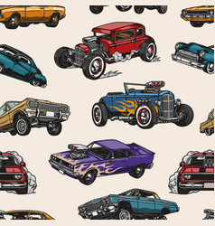 custom cars vintage colorful seamless pattern vector image