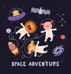 Cute animal astronauts vector