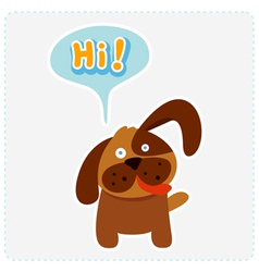 Cute cartoon dog and a speaking bubble vector