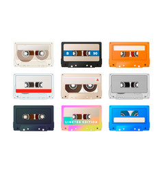 Detailed audio cassette vintage tape isolated on vector