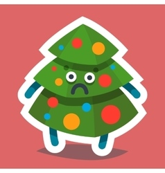 Emoticon Icon Happy New Year Fir Tree vector
