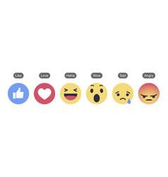 Facebook 6 empathetic emoji reactions vector