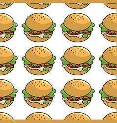 Fast food hamburger meal background vector