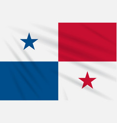 Flag panama swaying in the wind realistic vector