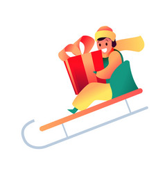 Flat boy in sled holding present box vector