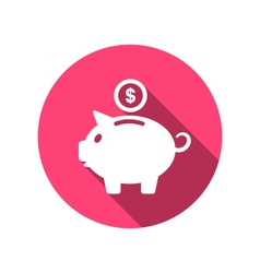 Flat icons piggy bank concept long shadow style vector