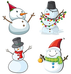 Four snowmen vector