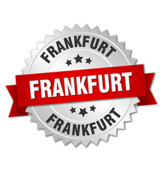 Frankfurt round silver badge with red ribbon vector